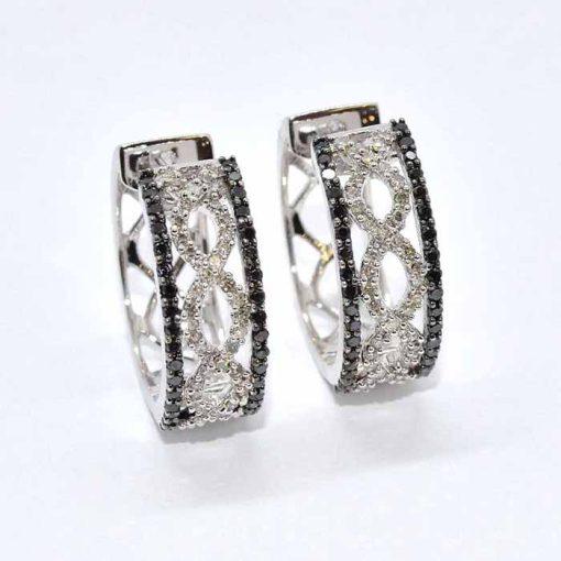 Black & White Diamond Hoop Earrings