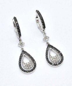 Gold White & Black Diamond Earrings