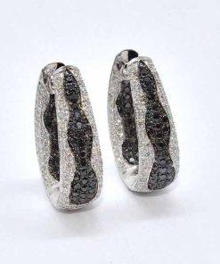 White & Black Diamond Earrings