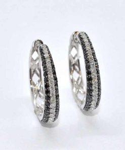 White & Black Diamond Hoop Earrings