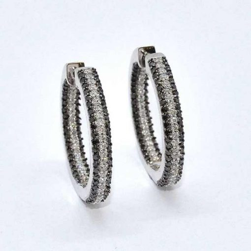 Black & White In-Out Diamond Hoop Earrings