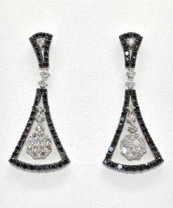 Cluster Black & White Diamond Earrings