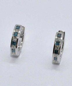 White & Blue Diamond Huggies