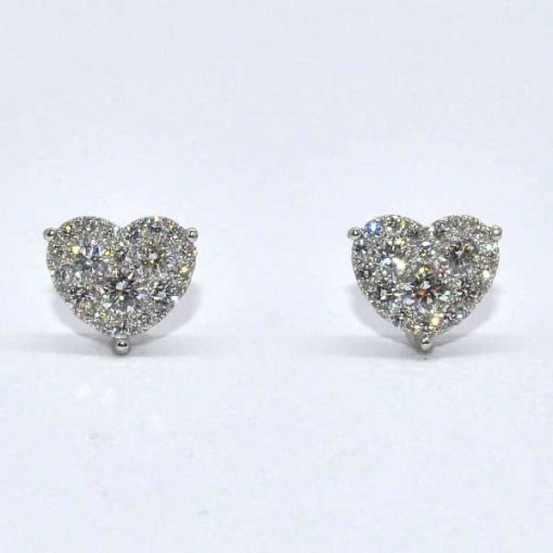 Diamond Heart Shaped Studs