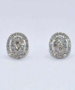 Oval Shaped Diamond Cluster Studs