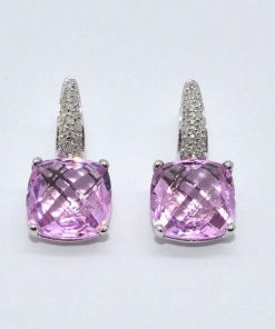 Checkerboard Cut Pink Topaz & Diamond Earrings