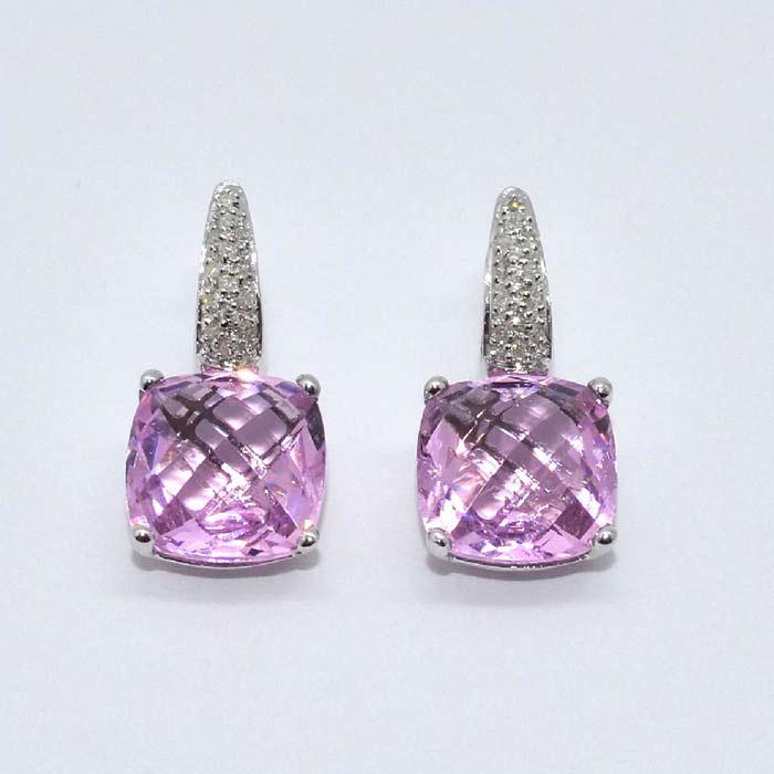 Checkerboard Cut Pink Topaz Diamond Earrings
