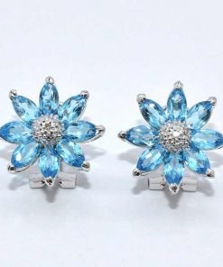 Diamond & Blue Topaz Flower Earrings