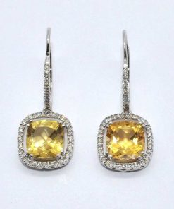 Diamond & Citrine Drop Earrings