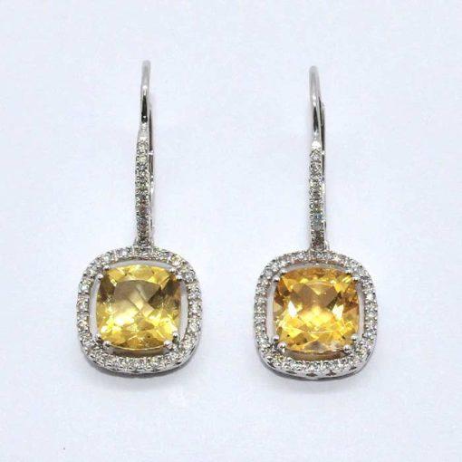 Diamond & Citrine Drop Earrings