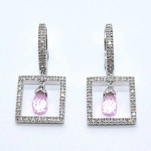 Diamond & Pink Topaz Earrings