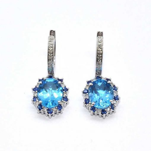 Diamond, Sapphire & Blue Topaz Earrings