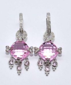 Fancy Pink Topaz and Diamond Earrings