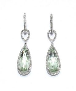 Green Amethyst & Diamond Teardrop Earrings