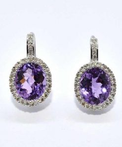 oval shaped amethyst diamond earrings