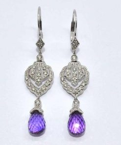 pear shaped amethyst diamond earrings