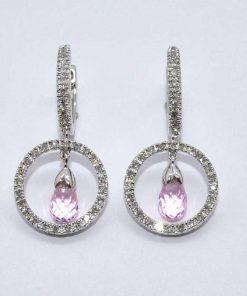 Pink Topaz & Diamond Hanging Earrings