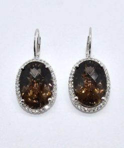 Smokey Topaz & Diamond Earrings