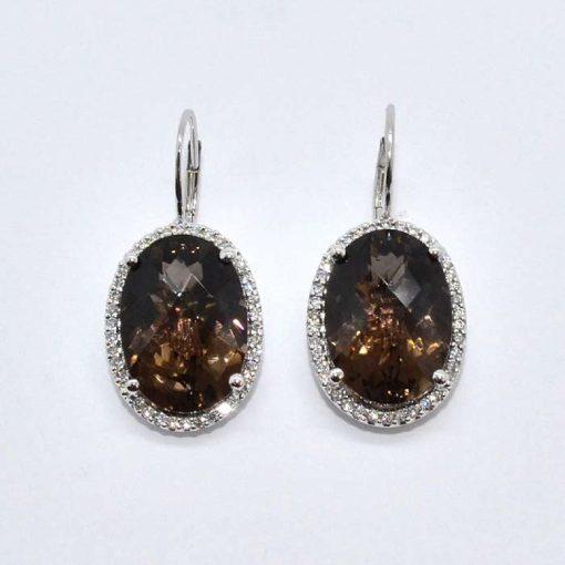 Smokey Topaz & Diamond Earrings