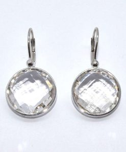 14k White Gold Topaz Earrings