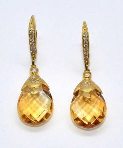 Pear Shaped Citrine & Diamond Earrings
