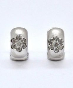 White Gold Matted Huggie Earrings with Diamond Flower Design