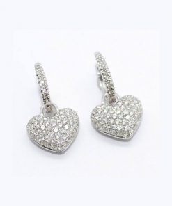 Diamond Pave Heart Earrings