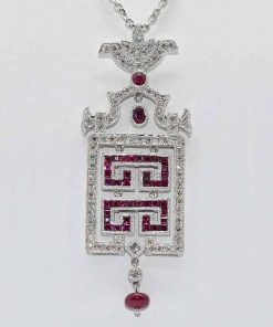 Chandelier Diamond & Ruby Pendant