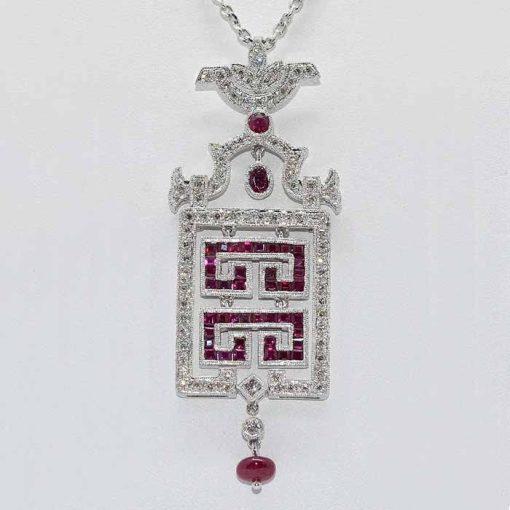 Chandelier Diamond & Ruby Pendant