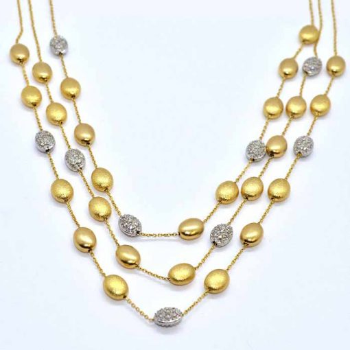 two tone gold diamond necklace