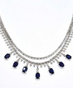 diamond & sapphire fashion necklace