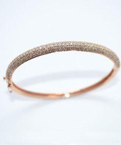 pink gold diamond bangle