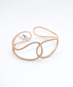 pink gold diamond cuff