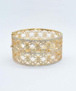 yellow gold diamond cuff