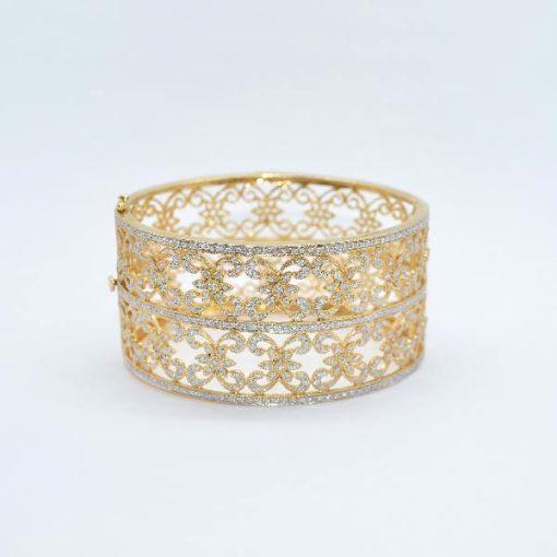 yellow gold diamond cuff
