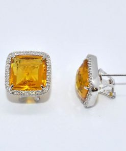 citrine & diamond halo earrings