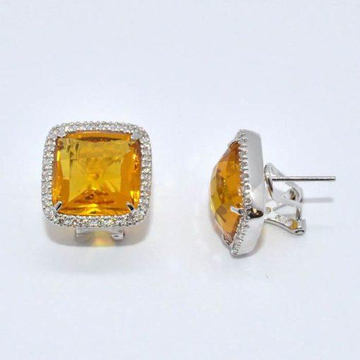 citrine & diamond halo earrings
