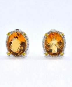oval citrine & diamond earrings