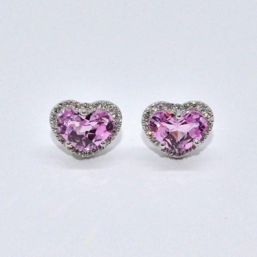 pink topaz stud earrings diamond halo