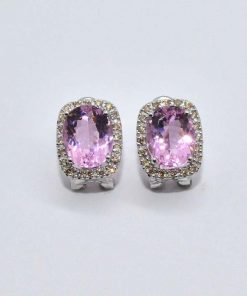 pink topaz & diamond halo earrings