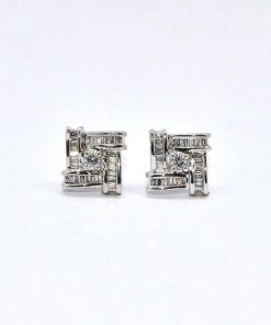 Diamond Earrings Round & Baguette Diamonds