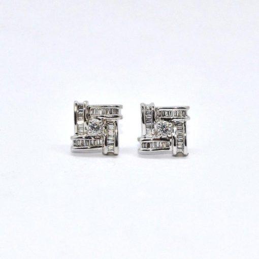 Diamond Earrings Round & Baguette Diamonds