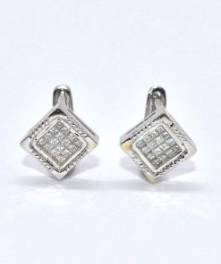 princess cut diamond huggie earrings