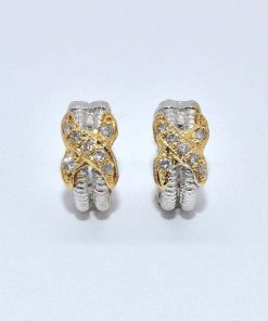 two-tone gold diamond earrings