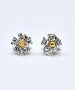 two tone gold diamond cluster earrings
