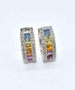 Diamond & Colored Genuine Stone Earrings