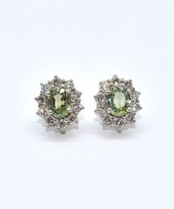 diamond & peridot earrings