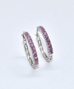 pink sapphre & diamond hoops