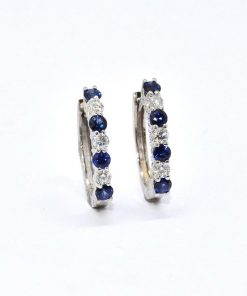 Diamond & Blue Sapphire Hoop Earrings