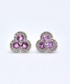 diamond & pink sapphire stud earrings